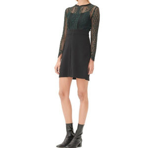 Sandro Green Rikka Lace Top Dress Size 3 NWT